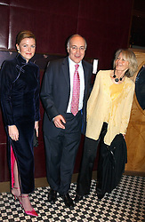 Left to right, EIMEAR MONTGOMERIE and MICHAEL & SANDRA HOWARD at a fund raising dinner hosted by Marco Pierre White and Frankie Dettori's in aid of Conservative Party's General Election Campaign Fund held at Frankie's No.3 Yeoman's Row,¾London SW3 on 17th January 2005.<br />
