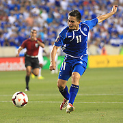 Rodolfo Zelaya, El Salvador, shoots during the El Salvador Vs Trinidad and Tobago CONCACAF Gold Cup group B football match at Red Bull Arena, Harrison, New Jersey. USA. 8th July 2013. Photo Tim Clayton