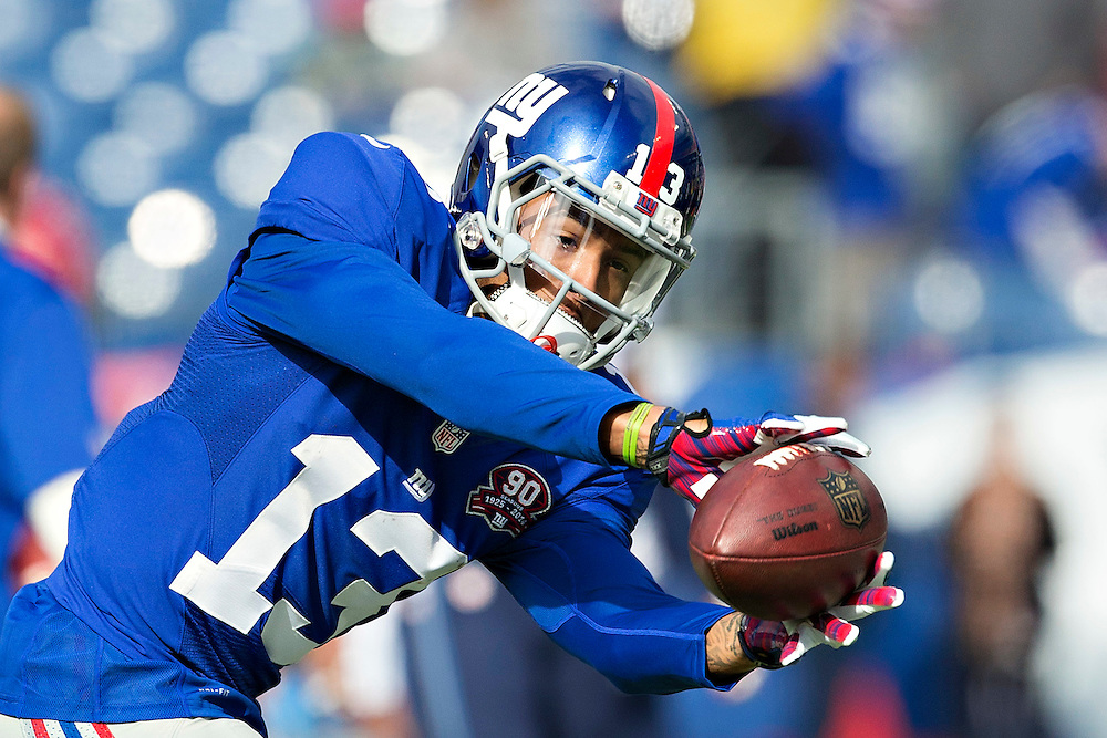 NASHVILLE, TN - DECEMBER 7:  Odell Beckham Jr. #13 of the New York Giants warming up before a game against the Tennessee Titans at LP Field on December 7, 2014 in Nashville, Tennessee.  The Giants defeated the Titans 36-7.  (Photo by Wesley Hitt/Getty Images) *** Local Caption *** Odell Beckham Jr.