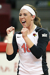 02 November 2012:  Kaitlyn Early celebrates a point during an NCAA womens volleyball match between the Missouri State Bears and the Illinois State Redbirds at Redbird Arena in Normal IL