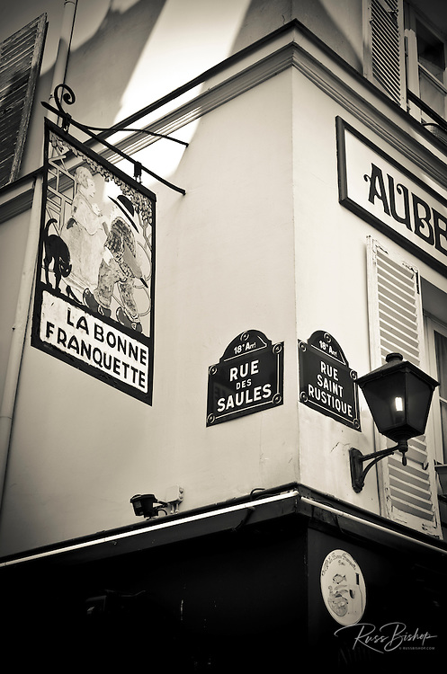 Street corner in Montmartre, Paris, France