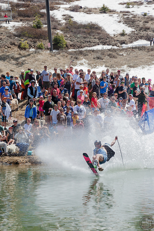 """Cushing Classic at Squaw Valley 20"" - Photograph of a skier crossing a pond during the Cushing Classic at Squaw Valley, USA."