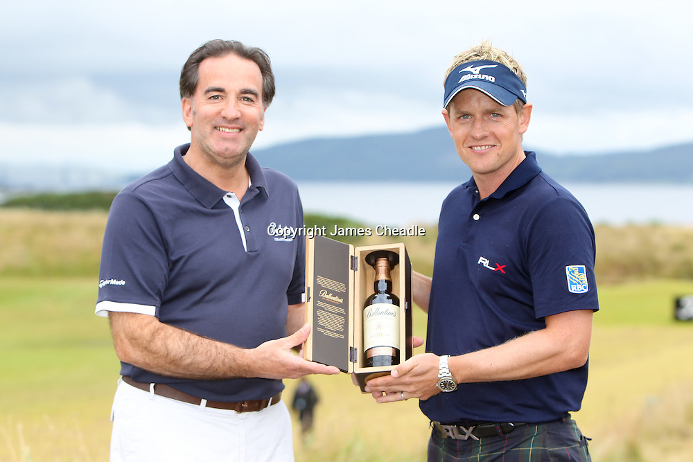 Scottish Open winner 2011. Luke Donald being presented with a bottle of Ballantine's 30 year old by Ken Lindsay, International Brand ambassador.