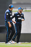 Brendon McCullum of the Black Caps celebrates catching out Milinda Siriwardana of Sri Lanka with Ross Taylor of the Black Caps during the First Cricket ODI, Black Caps V Sri Lanka, Hagley Oval, Christchurch, New Zealand. 26th December 2015. Copyright Photo: John Davidson / www.photosport.nz