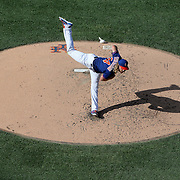 NEW YORK, NEW YORK - July 26: Pitcher Noah Syndergaard #34 of the New York Mets pitching in the late afternoon sunshine during the St. Louis Cardinals Vs New York Mets regular season MLB game at Citi Field on July 26, 2016 in New York City. (Photo by Tim Clayton/Corbis via Getty Images)