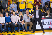 Golden State Warriors head coach Steve Kerr watches game play during Game 1 of the NBA Finals against the Cleveland Cavaliers at Oracle Arena in Oakland, Calif., on May 31, 2018. (Stan Olszewski/Special to S.F. Examiner)