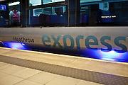 A Heathrow Express train at London Heathrow Airport's Terminal 5 station.