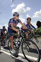SYKKEL, CYCLING - TOUR DE FRANCE 2004 - CHATEAUBRIANT > SAINT BRIEUC -  - PHOTO: TOM SIMON / DPPI   <br /> LANCE ARMSTRONG (USA) / US POSTAL - BERRY FLOOR