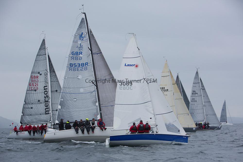 Silvers Marine Scottish Series 2017<br /> Tarbert Loch Fyne - Sailing<br /> <br /> Class 3 start, GBR8538R, Jack, Mr Peter Doig, East Antrim Boat Club, J92, GBR3089, Blue Jay, John Reekie, Bassenthwaite SC, SB20<br /> <br /> Credit: Marc Turner / CCC