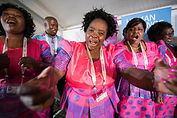 "15 May 2017, Windhoek, Namibia: Namibian choirs give life to evening prayers at the Lutheran World Federation's Twelfth Assembly. The Twelfth Assembly of the Lutheran World Federation gathers in Windhoek, Namibia, on 10-16 May 2017, under the theme ""Liberated by God's Grace"", bringing together some 800 delegates and participants from 145 member churches in 98 countries."