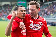 DEN HAAG - 21-04-2016, ADO Den Haag - AZ, Kyocera Stadion, AZ speler Dabney dos Santos Souza heeft de 0-1 gescoord, AZ speler Vincent Janssen, juicht, juichen