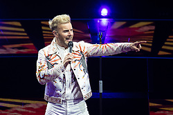 © Licensed to London News Pictures . 18/05/2017 . Manchester , UK . GARY BARLOW . Take That perform live at the opening night of their Wonderland tour at the Manchester Arena . Photo credit : Joel Goodman/LNP