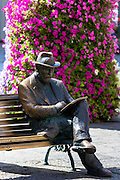 Bronze statue of architect Antoni Gaudi - Antony  Gaudi - by Sculptor J. Luis Fernandez at Casa Botines in Leon, Castilla y Leon, Spain