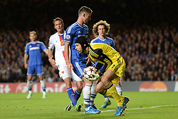 LONDON, ENGLAND - September 18:Chelsea's Petr Cech  saves a shot  during the UEFA Champions League Group E match between Chelsea from England and Basel from Switzerland played at Stamford Bridge, on September 18, 2013 in London, England. (Photo by Mitchell Gunn/ESPA)