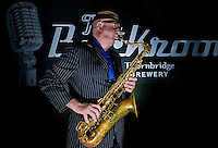 "March 23, 2012: Musician Bob Swift playing the tenor saxophone during a gig at the Greystones with his four-piece rhythm & blues band ""The Hummingbirds"" in Sheffield on March 23, 2012."