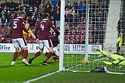 Curtis Main scores equaliser goal in injury time during the Ladbrokes Scottish Premiership match between Heart of Midlothian and Motherwell at Tynecastle Stadium, Gorgie, Scotland on 27 January 2018. Photo by Kevin Murray.