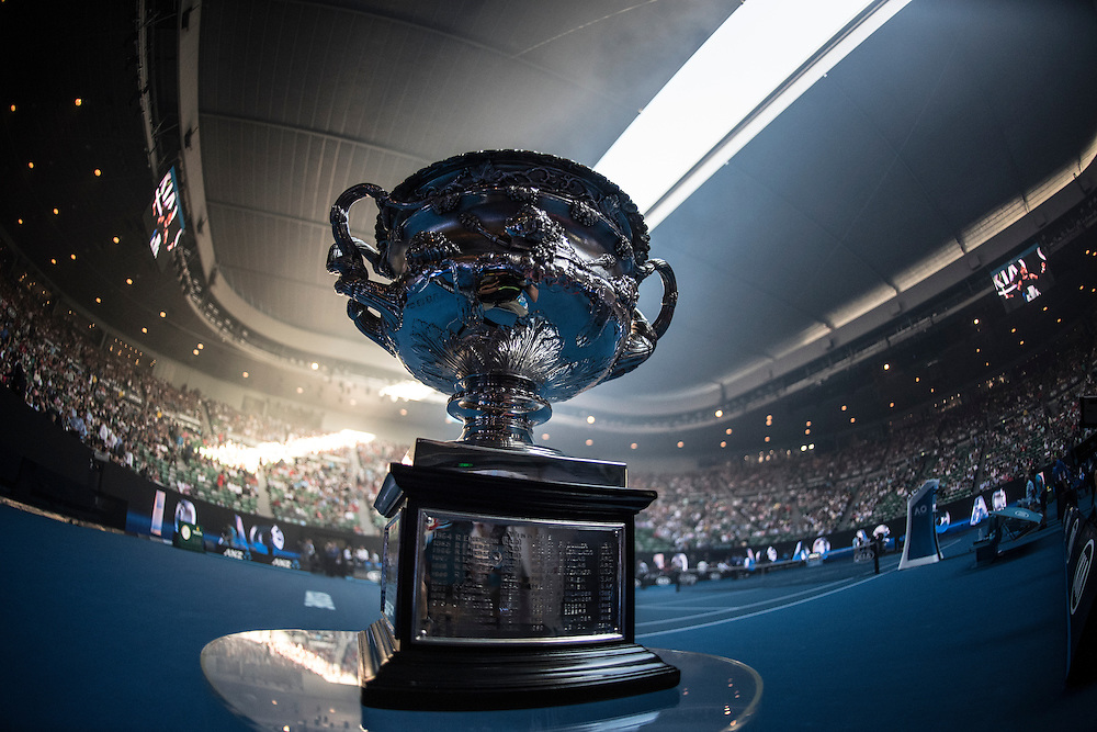 The Norman Brookes Challenge Cup ahead of the men's final on day fourteen of the 2017 Australian Open at Melbourne Park on January 29, 2017 in Melbourne, Australia.<br /> (Ben Solomon/Tennis Australia)