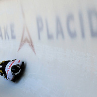 28 February 2007:  Florian Grassl of Germany in turn 18 the 3rd run at the Men's Skeleton World Championships competition on February 28 at the Olympic Sports Complex in Lake Placid, NY.