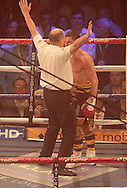 Picture by Richard Gould/Focus Images Ltd +44 7855 403186<br /> 13/07/2013<br /> Tommy Coyle (black &amp; gold) the ref stops the fight after the knock outfight for the vacant Commonwealth Lightweight title at Craven Park, Hull.