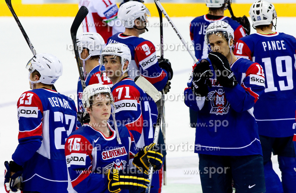 Rok Pajic of Slovenia, Bostjan Golicic of Slovenia, David Rodman of Slovenia during ice-hockey match between Slovenia and Belarus of Group G in Relegation Round of IIHF 2011 World Championship Slovakia, on May 8, 2011 in Orange Arena, Bratislava, Slovakia. Belarus defeated Slovenia 7-1 and stays in Elite Group A. (Photo By Vid Ponikvar / Sportida.com)