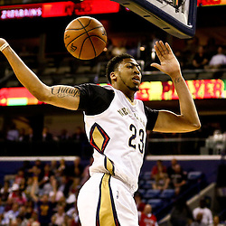 Mar 3, 2016; New Orleans, LA, USA; New Orleans Pelicans forward Anthony Davis (23) dunks against the San Antonio Spurs during the first quarter of a game at the Smoothie King Center. Mandatory Credit: Derick E. Hingle-USA TODAY Sports