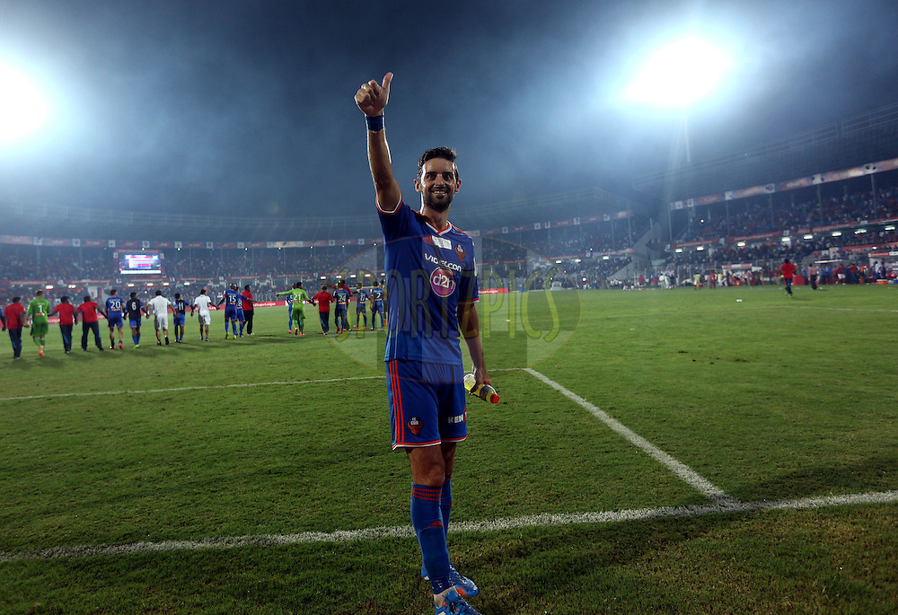 Bruno Filipe Tavares Pinheiro of FC Goa afetr the match 46 of the Hero Indian Super League between FC Goa and North East United FC held at the Jawaharlal Nehru Stadium, Fatorda, India on the 1st December 2014.<br /> <br /> Photo by:  Sandeep Shetty/ ISL/ SPORTZPICS