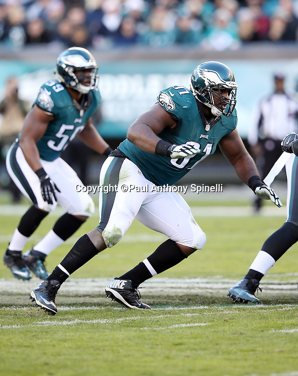 Philadelphia Eagles defensive end Fletcher Cox (91) chases the action during the 2015 week 10 regular season NFL football game against the Miami Dolphins on Sunday, Nov. 15, 2015 in Philadelphia. The Dolphins won the game 20-19. (©Paul Anthony Spinelli)
