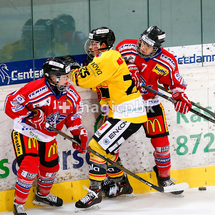 Rapperswil-Jona Lakers defenseman Kilian LIECHTI (L) and forward Roman MATHIS (R) are pictured during a Novizen Elite ice hockey game between Rapperswil-Jona Lakers and SC Bern Future held at the Diners Club Arena in Rapperswil, Switzerland, Saturday, Feb. 6, 2016. (Photo by Patrick B. Kraemer / MAGICPBK)