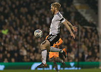 Football - 2017 / 2018 Sky Bet Championship - Fulham vs. Reading<br /> <br /> Tim Ream (Fulham FC) leaps in the air to control the high ball at Craven Cottage<br /> <br /> COLORSPORT/DANIEL BEARHAM