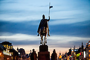 Evening light at Wenceslas Square in the center of Prague. The Monument of Saint Wenceslas from the backside.