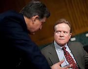 Feb 3, 2011 - Washington, District of Columbia, U.S. - Senator JIM WEBB (D-VA) confers with Senator JOE MANCHIN (D-WV) before the start of a Senate Armed Services Committee hearing on U.S. Policy toward Iraq.(Credit Image: © Pete Marovich/ZUMA Press)