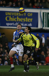Portsmouth, England - Saturday, February 10, 2007: Portsmouth's Matthew Taylor and Manchester City's Bernado Corradi during the Premiership match at Fratton Park. (Pic by Chris Ratcliffe/Propaganda)