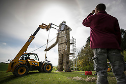 © Licensed to London News Pictures. 03/05/2018. Chalton, UK. The head of a 30 foot high Wickerman is put in place ahead of The Beltain Festival at Butser Ancient Farm in Hampshire. Over two thousand people will gather on Saturday 5th May to witness the ancient Celtic celebration of summer - which will culminate in the burning of the giant Wickerman. Photo credit: Peter Macdiarmid/LNP