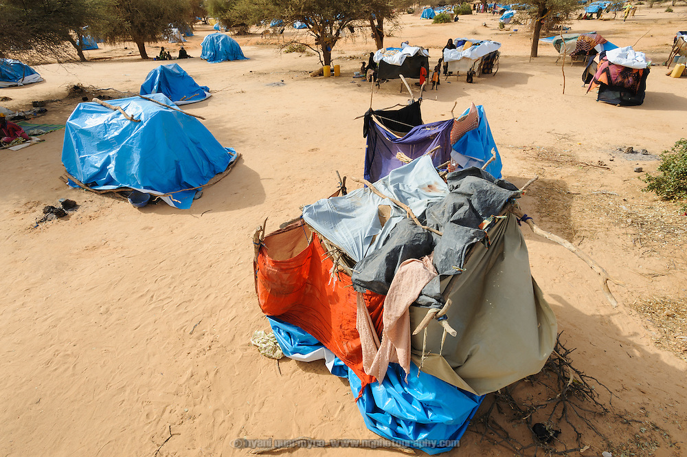 Refugees' makeshift shelters in Mangaize in the Tillaberi region of Niger on 1 March 2012.