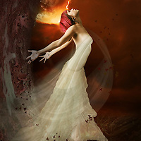 A young woman wearing a white dress under a red storm