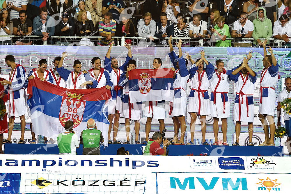 SERBIA European Champion <br /> LEN European Water Polo Championships 2014<br /> Alfred Hajos Swimming Complex<br /> Margitsziget - Margaret Island<br /> Day14 - July 27<br /> Photo A.Staccioli/Insidefoto/Deepbluemedia
