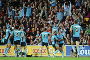 May 25th 2011: Brett Morris & Michael Jennings of the Blues celebrate a try during game 1 of the 2011 State of Origin series at Suncorp Stadium in Brisbane, Australia on May 25, 2011. Photo by Matt Roberts/mattrIMAGES.com.au / QRL