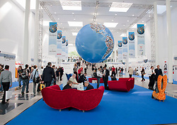 Entrance hall at Photokina digital imaging trade show in Cologne Germany 2010