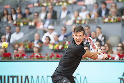 May 11, 2018 - Madrid, Spain - DOMINIC THIEM return backhand against R. Nadal during the quarter finals of Mutua Madrid Open 2018 ATP in Madrid. Thiem defeated Nadal 7-5(3) 6-3. (Credit Image: © Patricia Rodrigues via ZUMA Wire)