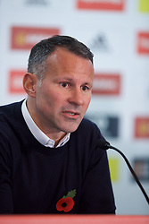 CARDIFF, WALES - Monday, November 5, 2018: Wales' manager Ryan Giggs, wearing a red poppy, during a press conference at Hensol Castle at the Vale Resort as he announces the squad for the forthcoming UEFA Nations League match against Denmark and a friendly against Albania. (Pic by Paul Greenwood/Propaganda)