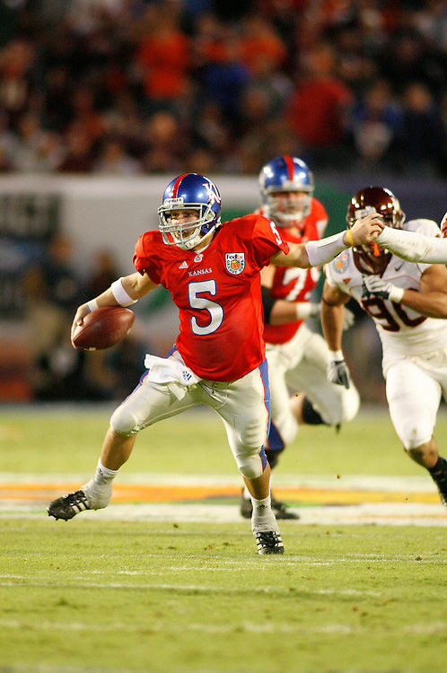 January 3, 2008 - Miami Gardens, FL<br /> <br /> Todd Reesing #5 of the Kansas Jayhawks in action during Kansas' 24-21 victory over Virginia Tech in the 2008 Orange Bowl Classic at Dolphin Stadium in Miami Gardens, Florida.<br /> <br /> JC Ridley/CSM