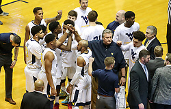 Feb 12, 2018; Morgantown, WV, USA; The West Virginia Mountaineers huddle before their game against the TCU Horned Frogs at WVU Coliseum. Mandatory Credit: Ben Queen-USA TODAY Sports
