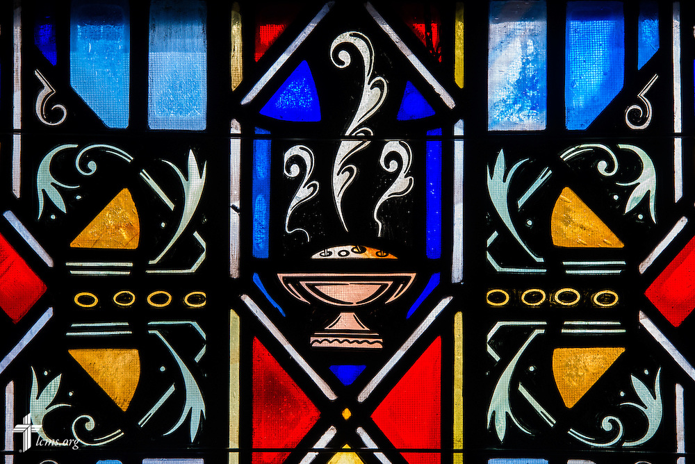 Stained glass depicting Communion at Luther Memorial Chapel on Friday, Jan. 29, 2016, in Shorewood, Wis. LCMS Communications/Erik M. Lunsford