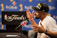 17 June 2010: Guard Derek Fisher of the Los Angeles Lakers speaks to the media after the Lakers defeat the Boston Celtics 83-79 and win the NBA championship in Game 7 of the NBA Finals at the STAPLES Center in Los Angeles, CA.
