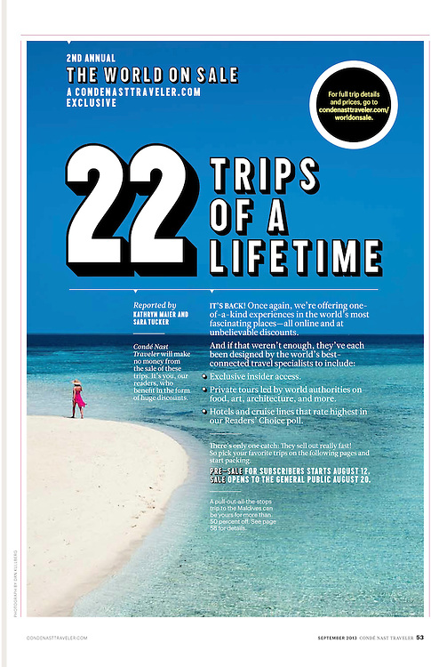 Conde Nast Traveler US Sept 2013, Trips of Lifetime, Conde Nast, Maldives, Beach, Model,