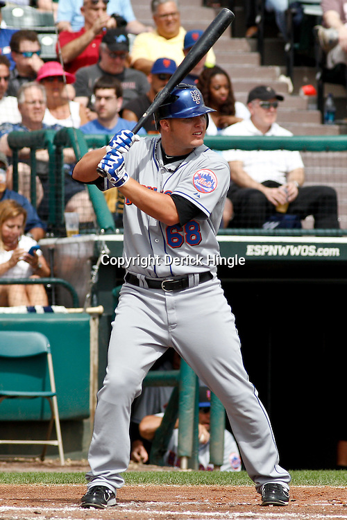 March 5, 2011; Lake Buena Vista, FL, USA; New York Mets second baseman Brad Emaus (68) during a spring training exhibition game against the Atlanta Braves at Disney Wide World of Sports complex.  Mandatory Credit: Derick E. Hingle
