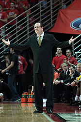 22 January 2014:  Gregg Marshall looks a bit perplexed by a no call during an NCAA Missouri Valley Conference mens basketball game between the Shockers of Wichita Stat and the Illinois State Redbirds  in Redbird Arena, Normal IL.
