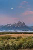 Full moon over the Teton Range at Cunningham Ranch, Grand Teton National Park Wyoming