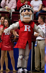March 20, 2010; Stanford, CA, USA; The Rutgers Scarlet Knights mascot performs during the first half in the first round of the 2010 NCAA womens basketball tournament at Maples Pavilion.  Iowa defeated Rutgers 70-63.