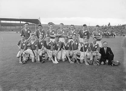 Neg No:.598/8141-8144...1954AIJHCF2...12.09.1954, 09.12.1954, 12th September 1954...All Ireland Junior Hurling Championship - Home Final..Limerick.3-5.Antrim.1-8..Limerick. ..P. Cunneen (goal), J. OSullivan, Jim Keogh, P. ONeill, J. Dooley, S. Murphy, Jim Quaid, Jack Quaid, W. Dooley, A. Raleigh, M. Carmody (Captain), V. Cobbe, M. Sheehan, C. Daly, J. Barry. .M. Carmody (Captain).P. Cunneen (goal)..London. .E. Moloney, P. Murphy, K. Naughton, M. Butler, M. Lyons, W. Brophy (Captain), M. Fortune, S. Costelloe, Joe Duggan, T. Morrissey, S. OSullivan, D. Bransfield, M. Conway, P. Stapleton, S. Marmion.Subs: P. Cleary for M. Fortune, J. Barry for S. Marmion.W. Brophy (Captain)...